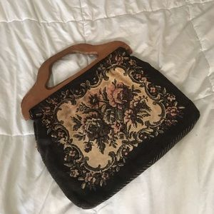 Handbags - Vintage purse with wooden handles